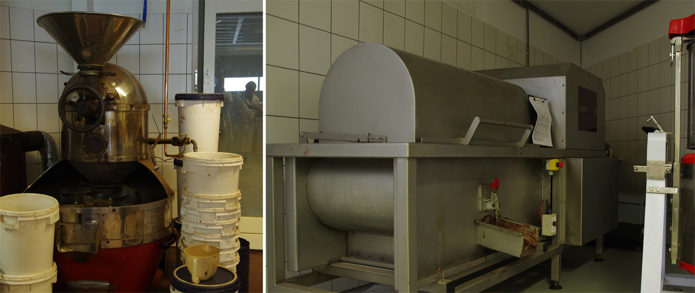 Self-made conching machine and old coffee roaster at Chocolatemakers in Amsterdam