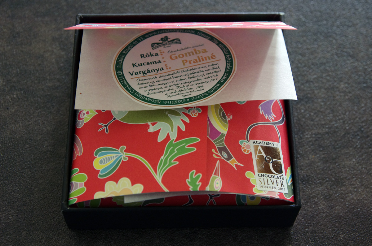 Pretty box with mushroom pralines from Rózsavölgyi Csokoládé