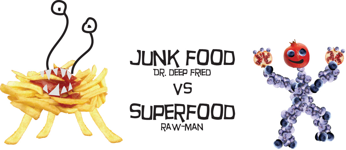 Junkfood versus Superfood, French fries fight against blueberry raw-man